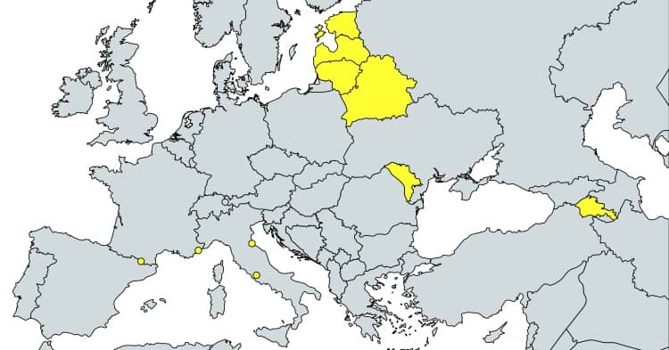 países con prefijo +37