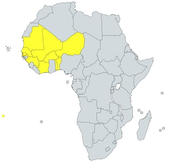 prefijo 22 en África